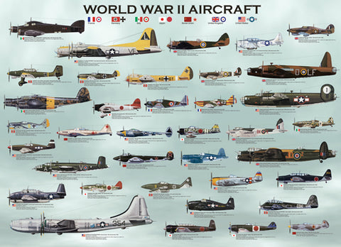 WWII Aircraft 1000pc jigsaw (26.5in x 19.25in)