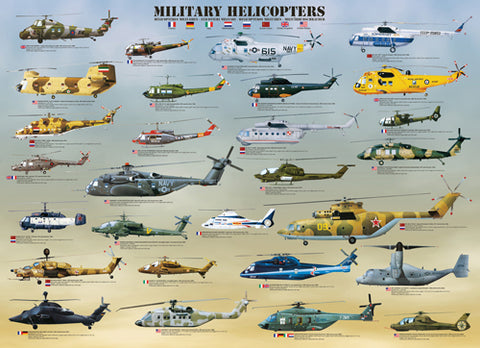 Military Helicopters 1000pc jigsaw (26.5in x 19.25in)