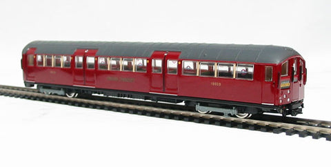 "4 car 1938 tube stock London Transport underground train in ""Piccadilly Line"" livery. Not motorised"
