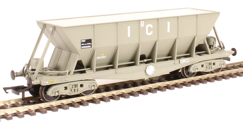 ICI Hopper wagon 19090 in battleship grey body, underframes & bogies with PHV TOPS panel (black backing). 1973 - 1992