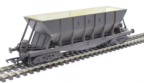 ICI Hopper wagon 19058 in battleship grey body, underframes & bogies with PHV TOPS panel (black backing) - weathered. 1973 - 1992