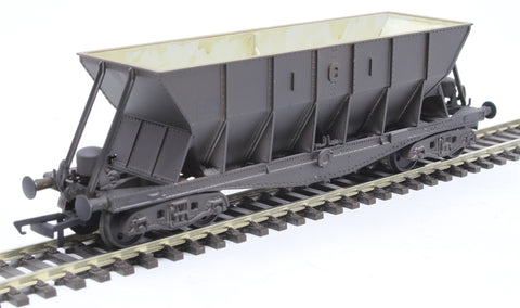 ICI Hopper wagon 19011 in battleship grey body, underframes & bogies with PHV TOPS panel (black backing) - weathered. 1973 - 1992