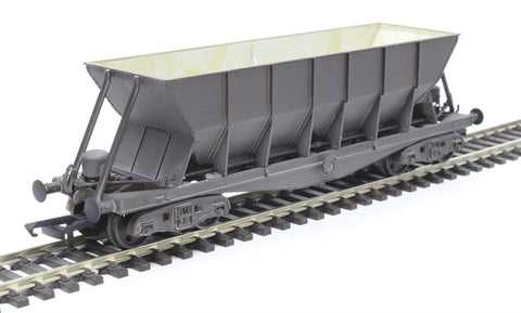 ICI Hopper wagon 19019 in battleship grey body, underframes & bogies with PHV TOPS panel (black backing, no ICI lettering) - weathered. 1992 - 1997