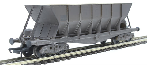 ICI Hopper wagon 19110 in battleship grey body, underframes & bogies with PHV TOPS panel (black backing, no ICI lettering) - weathered. 1992 - 1997
