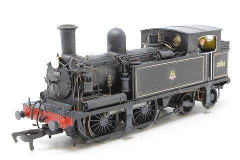 Class O2 0-4-4T 30182 in BR black with early emblem - Pre-owned - poor runner - weathered - crew and route discs added - Very Good Box
