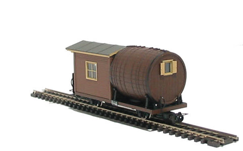 2 axle wagon with water barrel of the Austrian Steyrtalbahn in brown livery Epoch V