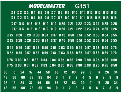 Diesel locomotive numbering transfer set for BR green era - Pre-TOPs style