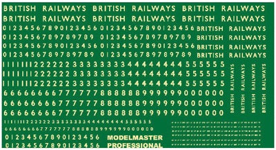 Steam locomotive numbering transfer set for BR steam era - numbers and lettering