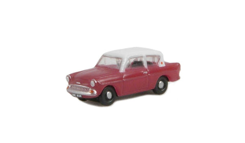Ford Anglia in maroon & grey