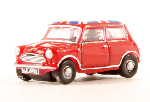 Austin Mini in Tartan Red with Union Jack roof
