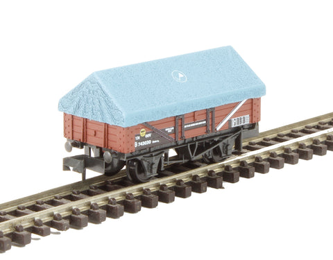 5-plank open china clay wagon in BR bauxite with hood