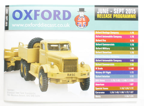 Oxford Diecast 48-page A6 catalogue - Jun 2015-Sep2015. Includes OO, N & O gauge items