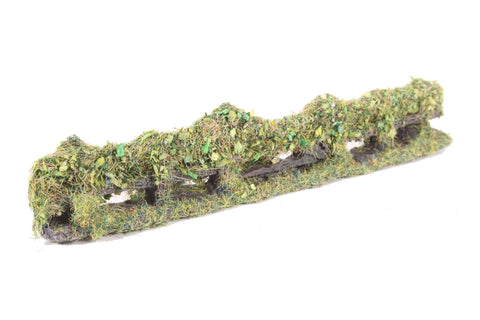 Rustic wooden fence with foliage - 150mm