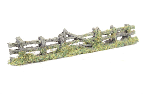 Rustic weathered wooden fence with gate - 150mm