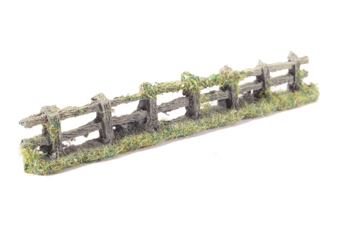 Rustic weathered wooden fence with foliage - 150mm