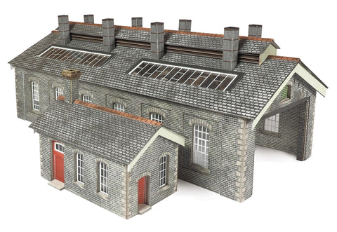 Double track stone-built engine shed - Settle and Carlisle style - card kit