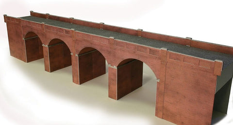Double track viaduct - red brick - card kit