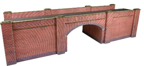 Double-track railway overbridge - red brick - card kit