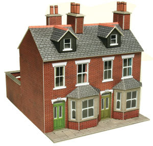 Pair of red brick terraced houses - card kit