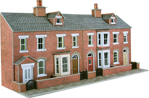 Low relief terrace house fronts - red brick - card kit