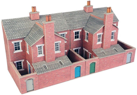Low relief terrace house backs - red brick - card kit