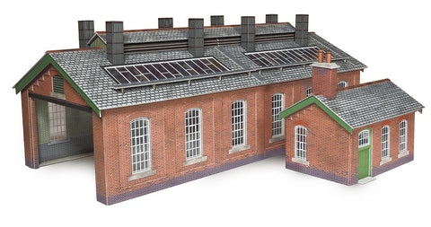 Double track brick built engine shed - card kit