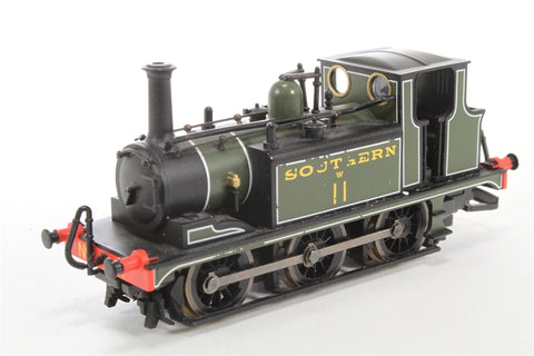 Terrier 0-6-0T W11 in SR Green - Pre-owned - DCC fitted, but struggles to start moving - worn decals and paintwork on sides - missing coupling hooks - worn packaging