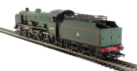 "Class 6P Patriot 4-6-0 45518 ""Bradshaw"" in BR Green with early crest - Railroad range"