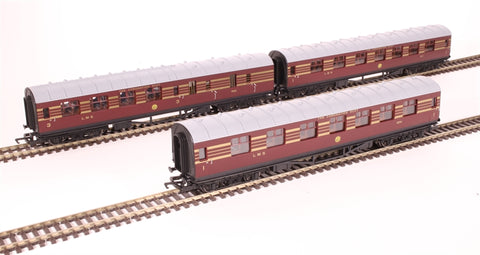 LMS Stanier Period III coaches in LMS Coronation Scot crimson lake - pack of three - Railroad Range