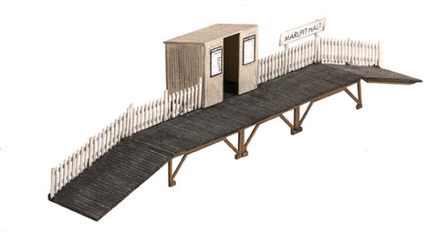 Wooden station halt with waiting room - plastic kit