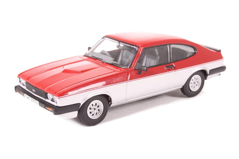 Ford Capri Mk3 1.6 Calypso Cardinal Red & Strato Silver - Open box - Produced with minor paint defect