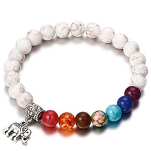 Load image into Gallery viewer, 7 Chakra Bracelet with Elephant Pendant