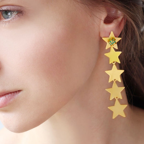 Emerald Waterfall Star Earrings