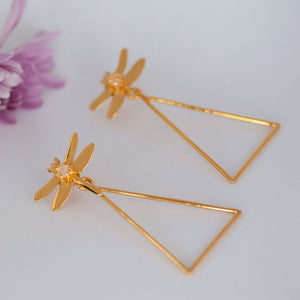 Dragonfly Triangle Earrings