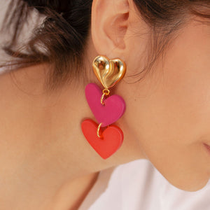 Lola Heart Double Earrings