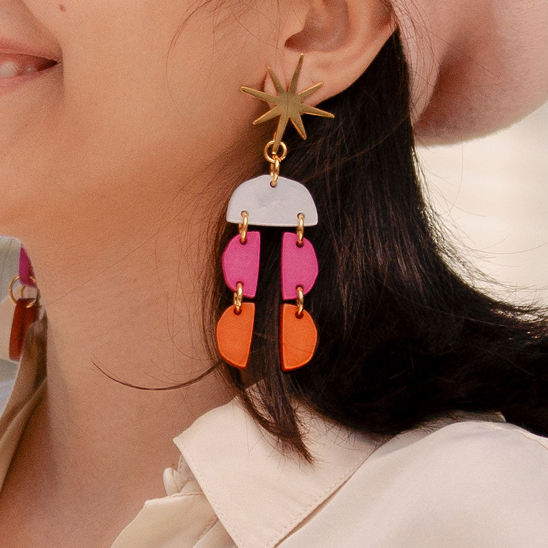 Acrylic colorful earrings inspired in matisse. lina hernandez jewelry. New York