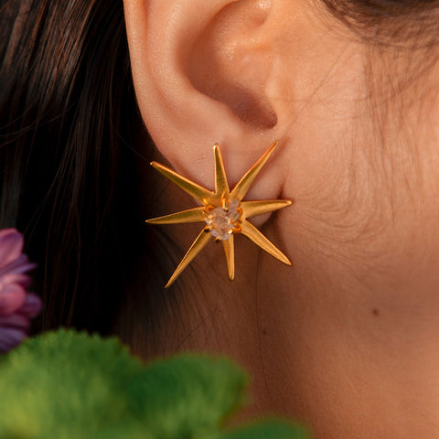 Star studs- rose quartz- lina hernandez jewelry