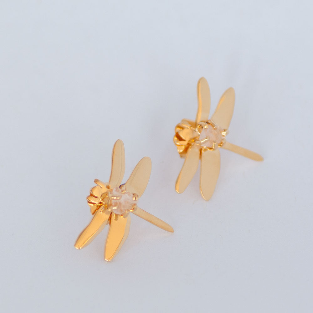 Rose Quartz Dragonfly Studs