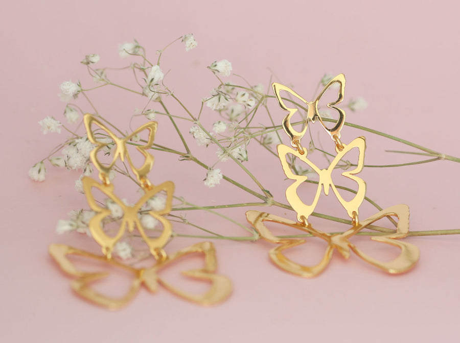 Triple Butterfly Earrings