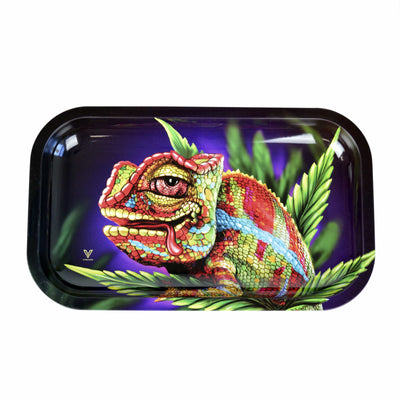 front view of rectangular metal rolling tray with rounded edges with a colorful chameleon on cannabis leaf with red eyes and its tongue sticking out of its mouth with a purple background