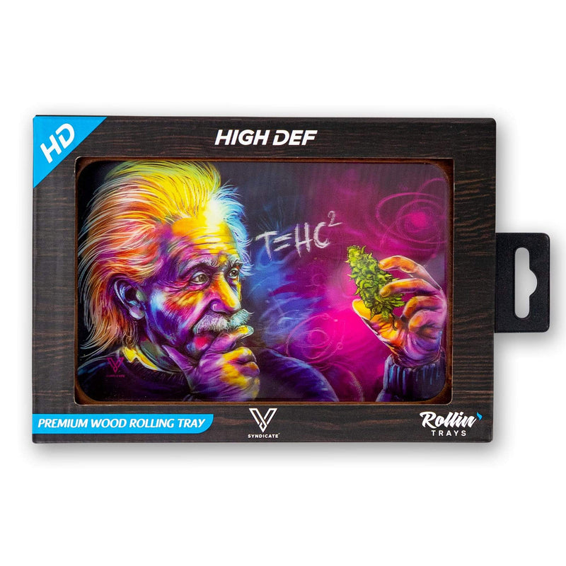 front view of rectangular wood rolling tray with a cartoon holographic image of Einstein holding a cannabis nug with T=HC2 in a white font above with a pink and blue cosmic space background