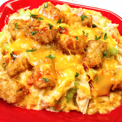 Buffalo Chicken Tater Tot Casserole      (also available in low carb)
