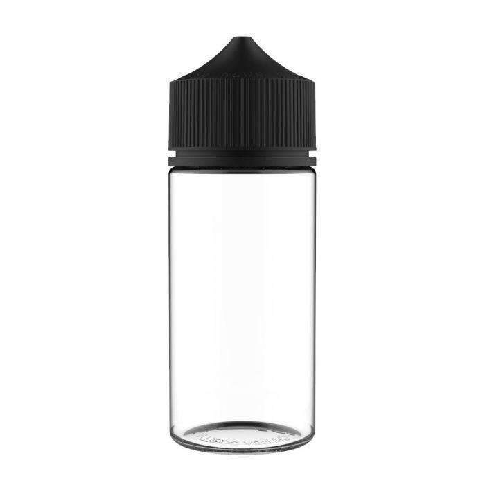 100ML CHUBBY GORILLA - V3 PET UNICORN BOTTLE WITH CRC & TAMPER EVIDENT BREAK-OFF BANDS-Bottle-Chubby Gorilla-100ML-CLEAR BOTTLE WITH BLACK CAP-CRAZE Vapor Wholesale