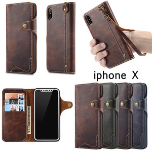 Genuine Leather Wallet Cases For iPhone X