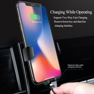 Wireless Fast Charger Car Mount For iPhone and Samsung