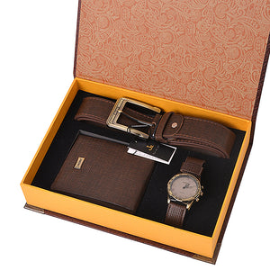Leather Belt Wallet Watch Set with box