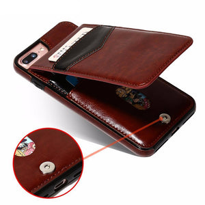 Premium Vertical Flip Card Holder Leather Case For iPhone.