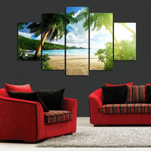 5-piece Beach Palm Tree printed Canvas Wall Art