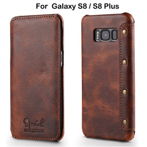Genuine Leather Wallet Case For Samsung Galaxy S8 (Plus)