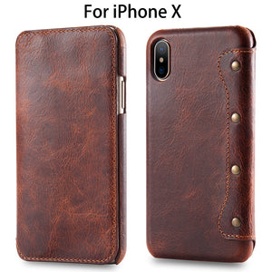 Luxury Genuine Leather Wallet Case For iPhone X